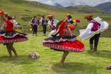 Inca Dancers in Costume, Inca Terraces of Moray, Cusco Region, Peru Photographic Print by Douglas Peebles