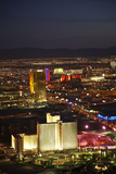 Night Aerial Cityscape of Downtown Las Vegas, Nevada Photographic Print by David Wall