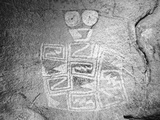 Texas, Hueco Tanks State Park. Pictograph of Tlaloc Indian Rain Deity Photographic Print by Dennis Flaherty
