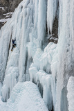 Ice Climber Ascending Stewart Falls Outside of Provo, Utah Photographic Print by Howie Garber