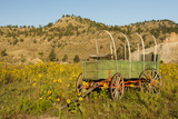 USA, South Dakota, Wild Horse Sanctuary. Scenic with Vintage Wagon Photographic Print by Cathy & Gordon Illg