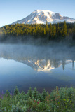 Sunrise, Mount Rainier, Reflection Lake, Mount Rainier NP, Washington Photographic Print by Michel Hersen
