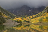 Colorado, Maroon Bells SP. Storm Clouds on Maroon Bells Mountains Photographic Print by Don Grall