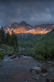 Colorado, Maroon Bells SP. Sunrise Storm Clouds on Maroon Bells Mts Photographic Print by Don Grall
