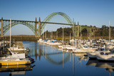Dawn in Newport Harbor with Yaquina Bay Bridge Beyond, Newport, Oregon Photographic Print by Brian Jannsen