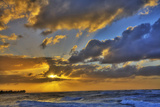 USA, Hawaii, Oahu, Sun Setting over the Pacific Ocean Photographic Print by Terry Eggers