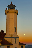 Washington, Port Townsend. Super Moon over the Point Wilson Lighthouse Photographic Print by Richard Duval