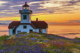 Washington, San Juan Islands. Patos Lighthouse and Camas at Sunset Photographic Print by Don Paulson