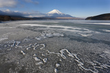Ice on Lake Yamanaka with Snow-Covered Mount Fuji in Background, Japan Photo by Peter Adams