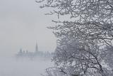 Canada, Ottawa, Ottawa River. Parliament Buildings Seen Through Fog Photo by Bill Young
