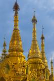 Myanmar. Yangon. Shwedagon Pagoda. Golden Spires Gleam at Twilight Photo by Inger Hogstrom