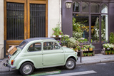 Fiat on the Sidewalk at the Florist Shop, les Marais, Paris, France Photo by Brian Jannsen