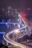 China, Traffic Lights on Caiyuanba Bridge Spanning Yangtze River Photo by Paul Souders