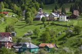 Romania, Maramures, Statiunea Borsa, Ski Resort, Spring, Village View Photo by Walter Bibikow