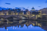 Italy, Rome, Tiber River and Ponte Vittorio Emanuele at Twilight Photo by Rob Tilley