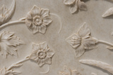 India, Agra, Taj Mahal. Detail of Carved Marble with Flower Design Photo by Cindy Miller Hopkins