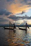 Intha Fisherman Rowing at Sunset on Inle Lake, Shan State, Myanmar Photo by Keren Su