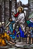Romania, Transylvania, Greco-Catholic Cathedral, Stained Glass Window Foto di Walter Bibikow