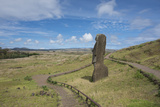 Chile, Easter Island. Rapa Nui NP, Historic Site of Rano Raraku. Moi Photo by Cindy Miller Hopkins