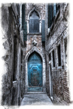 Venice, Italy. Carnival, Colorful Old Blue Doorway in Narrow Alley Photo by Darrell Gulin