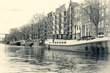 Sheila Haddad - Historic Houses and Boats Along a Canal, Netherlands Photo