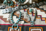 Beautiful Turquoise Jewelry Displayed for Sale, Santa Fe, New Mexico Photo by Julien McRoberts
