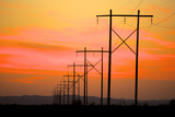 Power Lines Reach across the Desert at Sunset Photo by Richard Wright