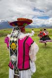 Inca Dancers in Costume, Inca Terraces of Moray, Cusco Region, Peru Photo by Douglas Peebles