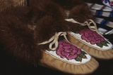 Decorative Beadwork on Top of Moccasins Lined with Beaver Fur. Alaska Photo by Angel Wynn