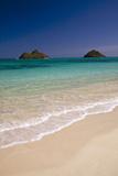 USA, Hawaii, Oahu, Lanikai Twin Mokulua Islands with Blue Water Photo by Terry Eggers