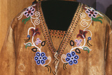 Flower Beadwork Decorates Athabaskan Men's Animal Hide Shirt. Alaska Photo autor Angel Wynn