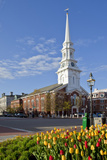 Tulips and North Church in Market Square. Portsmouth, New Hampshire Photo by Jerry & Marcy Monkman