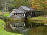 USA, Virginia, Mabry Mill. Composite of Mill and Pond Photo by Don Paulson