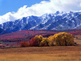 Utah. Autumn Snow on Wellsville Mts Above Maple and Cottonwood Trees Photo by Scott T. Smith