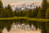USA, Wyoming, Grand Teton National Park, Schwabacher Landing, Sunrise Foto av Ford, John