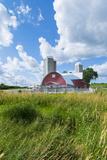 Eau Claire, Wisconsin, Farm and Red Barn in Picturesque Farming Scene Foto von Bill Bachmann