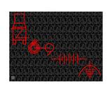 Thinker Collection STEM Art by Lisa C Clark - Engineering Symbols RED Fotografická reprodukce