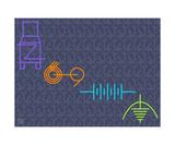 Thinker Collection STEM Art by Lisa C Clark - Engineering Symbols COLORS Fotografická reprodukce