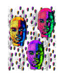 Thinker Collection STEM Art by Lisa C Clark - Female Wireframe Heads Fotografická reprodukce