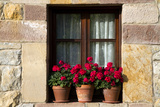 Window Flower Pots in Village of Santillana Del Mar, Cantabria, Spain Photographic Print by David R. Frazier