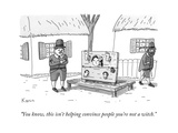 A man in Salem Massachusetts says to a woman contorting her limbs in a set... - New Yorker Cartoon Giclee Print by Zachary Kanin