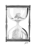 A man stands in the top half of an hourglass trying to collect handfuls an... - New Yorker Cartoon Premium Giclee Print by Tom Toro