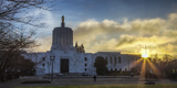 USA, Oregon, Salem, Oregon State Capitol Building at Christmas Eve Photographic Print by Rick A. Brown