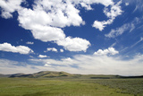 Cumulus Clouds and Blue Sky over Green Fields Near Pine, Idaho, USA Photographic Print by David R. Frazier