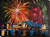 Sydney Silvester Stretched Canvas Print by M Bleichner