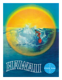 Hawaii - Hawaiian Surfer - Pan American World Airways Giclée-tryk af Pacifica Island Art