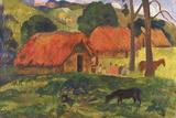 Village in Tahiti Giclee Print by Paul Gauguin