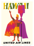 Hawaii - United Air Lines - Hawaiian Chief (Alii) with a Royal Feathered Standard (Kahili) Posters af  Pacifica Island Art