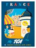 France - View of Paris - Fly TCA (Trans-Canada Air Lines) Prints by Jacques Le Flaguais