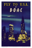 Fly to U.S.A. - New York City Night Skyline - BOAC (British Overseas Airways Corporation) Posters af Pacifica Island Art